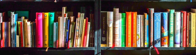 Boekenrek met vrolijk gekleurde boeken